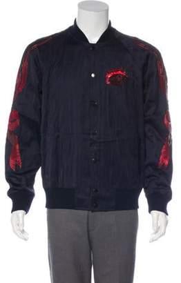 Dries Van Noten Embellished Quilted Bomber Jacket red Embellished Quilted Bomber Jacket