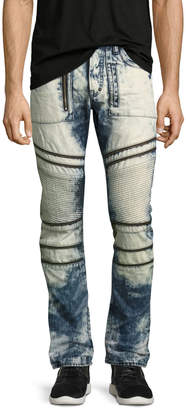 PRPS Demon Joint Heavy Bleached Moto Jeans Indigo