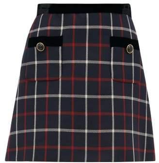 Miu Miu High Rise Velvet & Checked Twill Mini Skirt - Womens - Navy Multi