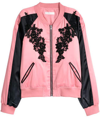 H&M Short Satin Bomber Jacket - Pink