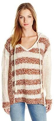 Blu Pepper Women's Loose Knit Striped Hooded Sweater