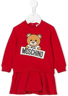 Moschino Kids Teddy logo print sweatshirt dress