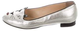 Charlotte Olympia Kitty Round-Toe Loafers Metallic Kitty Round-Toe Loafers