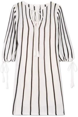 See by Chloe Tasseled Striped Cotton-blend Mini Dress - White