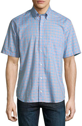 Tailorbyrd Grid Short-Sleeve Button-Down Shirt