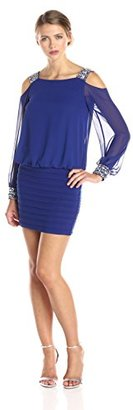 Betsy & Adam Women's Open Shoulder Blouson Banded Dress with Beading $189 thestylecure.com