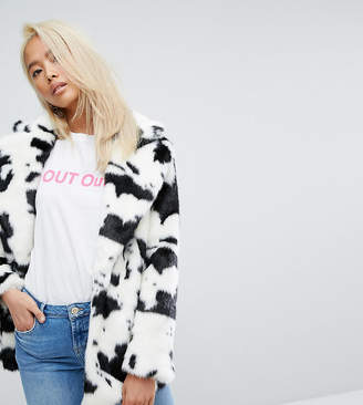 Jakke Mid Length Faux Fur Coat In Cow Print