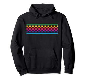 Checkered Surf Skateboard Shirt For Teens Rainbow Checker Pattern Checkerboard Skater Surfer Teens Pullover Hoodie