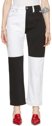 MSGM Black and White Colorblocked Jeans