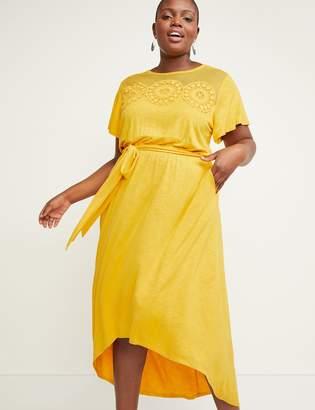 Lane Bryant Floral Applique Fit & Flare High-Low Maxi Dress