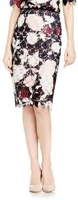 Vince Camuto Print Lace Pencil Skirt $129 thestylecure.com