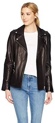 Soia & Kyo Women's BYRONY Moto Leather Jacket with Asymmetrical Zipper