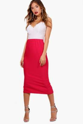 boohoo Deep Rib Long Line Midi Skirt
