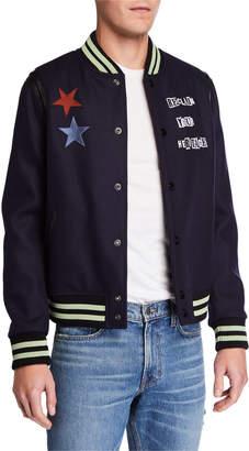 Valentino Men's Jamie Reidd Embroidered Patch Applique Bomber Jacket