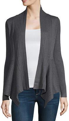 Liz Claiborne Long Sleeve V Neck Open Front Cardigan