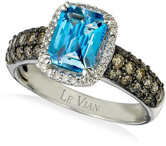LeVian Le Vian Chocolatier Signity Blue Topaz (1-1/5 ct. t.w.) and Diamond (3/4 ct. t.w.) Ring in 14k White Gold