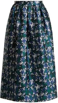 Oscar de la Renta Abstract floral-print silk-mikado skirt