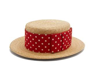 Ribbon-embellished straw hat