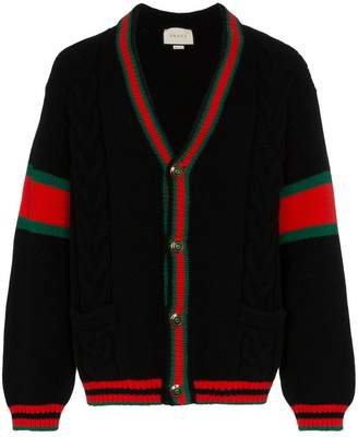 Gucci oversize cable knit wool cardigan