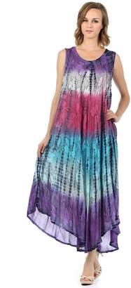 Blue & Cream Sakkas 10831 Ombre Floral Tie Dye Tank Sheath Caftan Rayon Dress - /