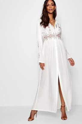 boohoo Embroidered Button Through Maxi Dress
