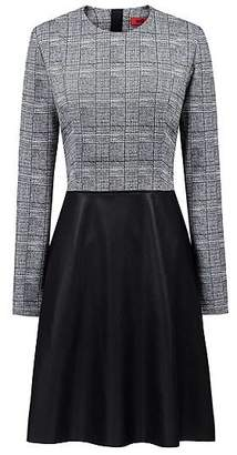 HUGO BOSS Long-sleeved dress with faux-leather flared skirt