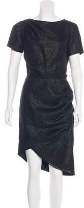 Chris Benz Metallic-Accented Short Sleeve Dress