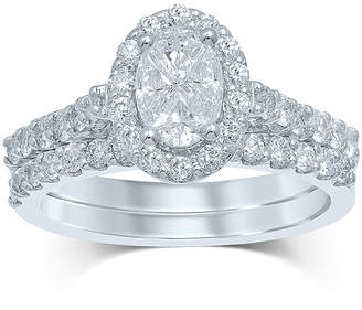 JCPenney MODERN BRIDE 1 CT. T.W. Fancy-Cut Diamond Oval-Shaped 14K White Gold Bridal Ring Set