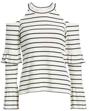Scripted Tiered Striped Cold-Shoulder Top