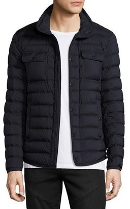 Moncler Faust Puffer Shirt Jacket, Navy $980 thestylecure.com