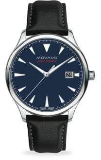Movado Heritage Automatic Round Stainless Steel& Leather Strap Watch - Blue