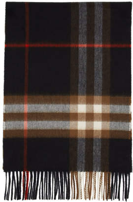 Burberry Black and Brown Cashmere Check Giant Icon Scarf