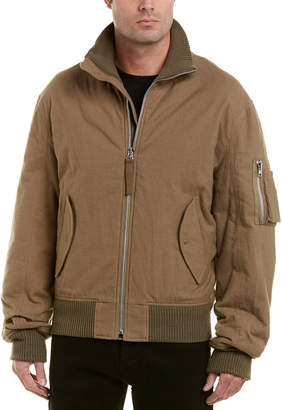 Helmut Lang High-Collar Wool-Trim Bomber Jacket