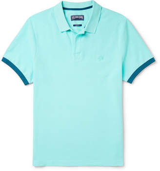 Vilebrequin Palatin Contrast-Tipped Cotton-Pique Polo Shirt - Light blue