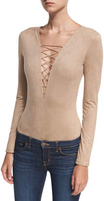 Alexander Wang Faux-Suede Long-Sleeve Lace-Up Bodysuit