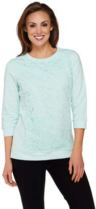 Isaac Mizrahi Live! 3/4 Sleeve Lace Applique Sweatshirt