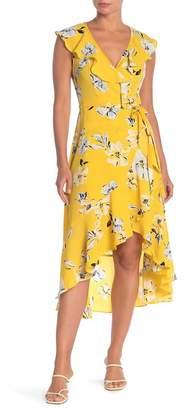 Donna Morgan Sleeveless Floral Print Bubble Crepe Wrap Dress
