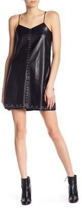 Blank NYC BLANKNYC Denim Studded Vegan Leather Slip Dress