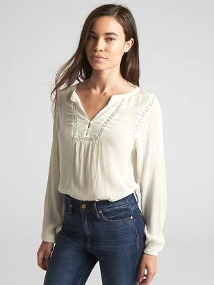Gap Crinkle Long Sleeve Lace-Trim Blouse