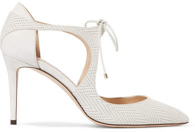 Jimmy Choo Vanessa 100 Cutout Embossed Leather Pumps - White