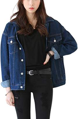 Yacun Women's Long Sleeve Casual Denim Jacket S