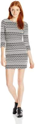 As U Wish Junior's 3/4 Sleeve Textured Knit Bodycon Dress, Black/Ivory