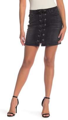 Kensie Jeans Lace Up Denim Mini Skirt