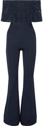 Herve Leger Off-the-shoulder Lace-trimmed Bandage Jumpsuit - Navy
