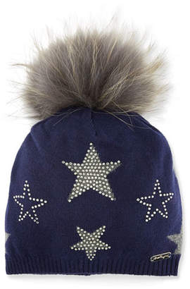 Bari Lynn Girls' Crystal Star Studded Beanie Hat w/ Fur Pompom