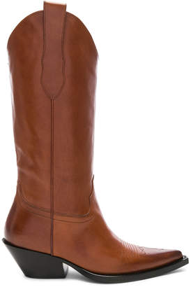 Maison Margiela Mid Leather Western Boots in Tobacco Brown | FWRD