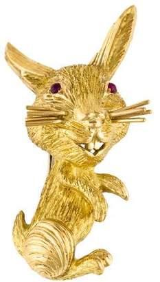 Cartier 18K Ruby Bunny Brooch