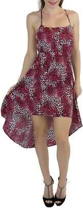 ToBeInStyle Women's Animal Print High-Low Hem Criss-Cross Back Maxi Summer Dress - S