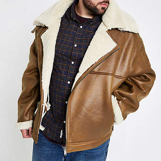River Island Big and Tall tan borg lined biker jacket