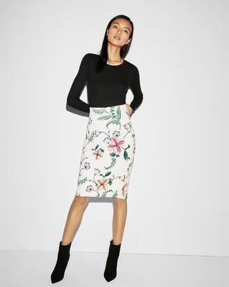 Express High Waisted Floral Pencil Skirt